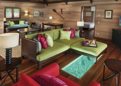 Villa intérieur vue sur lagon de Bora Bora © Hôtel St-Régis