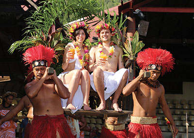 Polynesian wedding ceremonies at the Tiki Village Moorea